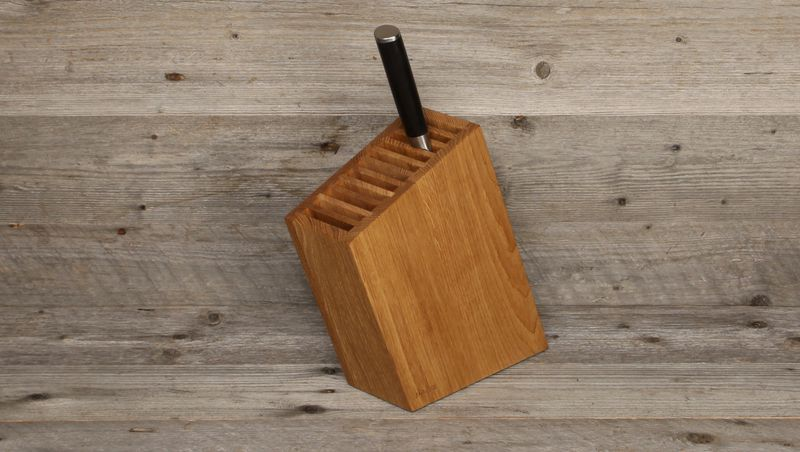 knife block oak - oblique, with 1 knife